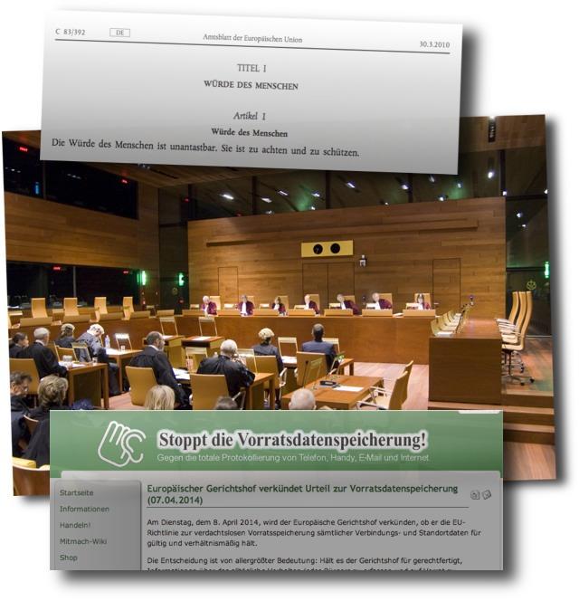 Menschenwürde, Vorratsdaten-Urteil und netzpolitischer Aktivismus am Dienstag früh im EUGH. (Foto Mitte: Gerichtshof der Europäischen Union)