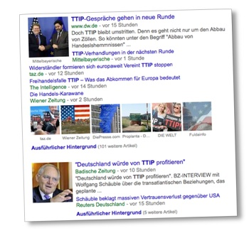 TTIP wieder in den Nachrichten. Screenshot: Google News