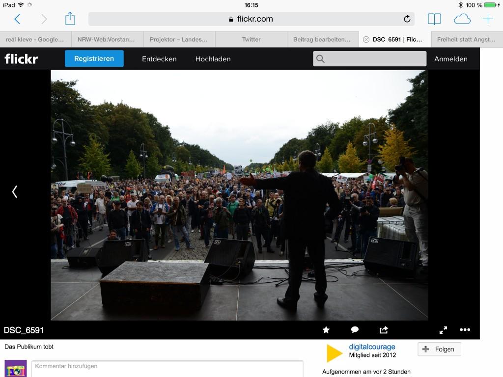 """Auf Flickr veröffentlicht digitalcourage aktuelle Bilder der """"Freiheit statt Angst 2014"""" in Berlin"""