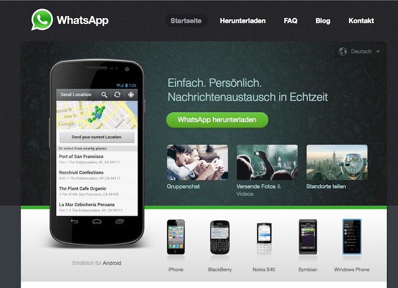 Whatsapp Homepage ohne Werbung für die Verschlüsselung (Screenshot)