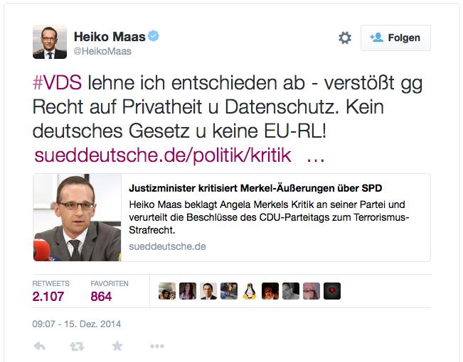 #VDS lehne ich entschieden ab - verstößt gg Recht auf Privatheit u Datenschutz. Kein deutsches Gesetz u keine EU-RL!