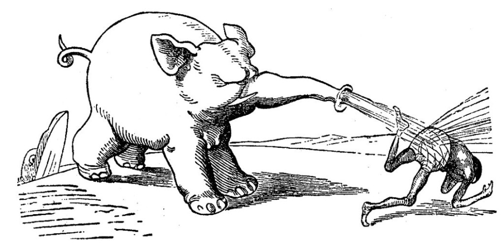 """""""Nun aber spritzt den Negersmann / der Elefant mit Wasser an"""" – Wilhelm Busch, Die Rache des Elefanten, ca. 1860"""