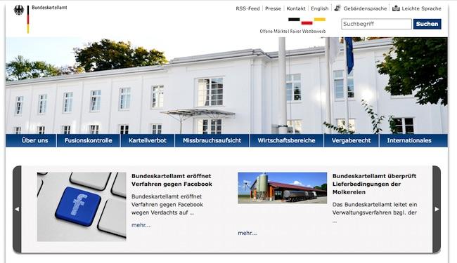 Webseite Bundeskartellamt: Facebook und Molkereien sind Themen aktueller Kartellentscheidungen.